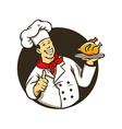 Chef Cooking Fried Chicken vector image