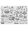 chicken eggs doodle set collection vector image vector image