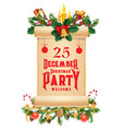 christmas garland with old scroll xmas party card vector image vector image