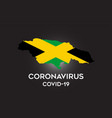 coronavirus in jamaica and country flag inside vector image vector image