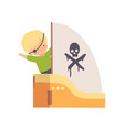 creative kid pirate character playing ship made of vector image vector image