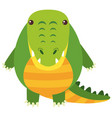 cute crocodile on white background vector image