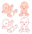 cute little happy basitting in diaper vector image vector image