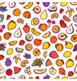 different color raw fruits seamless background vector image vector image