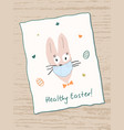 easter bunny wears a face mask healthy easter vector image