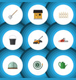 flat icon dacha set of wooden barrier hay fork vector image vector image