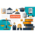 flat justice and law elements composition vector image vector image