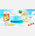 fruit yogurt with fresh pineapple in box vector image vector image