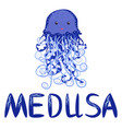 funny jellyfish hand drawn and signed title cute vector image vector image