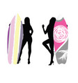 girl silhouette with surfboard color in hand vector image vector image