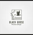 goose and river plant line art logo symbol design vector image vector image