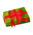 green gift box with red bow christmas and new vector image