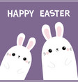 happy easter two rabbit bunny in the corner vector image vector image