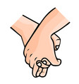 holding hands promise for friendship on white vector image vector image