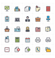 icon set - office and stationary full color vector image vector image