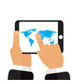 map earth in the hands of the tablet vector image