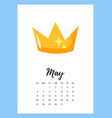 may 2018 year calendar page vector image vector image