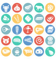 meat icons set on color circles white background vector image