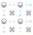 pattern with skull and bones linear design vector image vector image