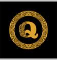 premium elegant capital letter q in a round frame vector image vector image