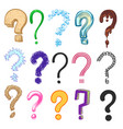 question marks hand drawn color interrogation vector image vector image