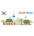 south korea historical and modern architecture vector image vector image