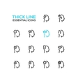 Thoughts in Heads - Thick Single Line Icons Set