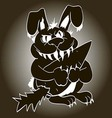 toothy evil bunny with claws grabbed a vegetable vector image