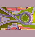 top view transport interchange in city empty road vector image