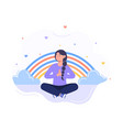 tranquil woman with closed eyes vector image vector image