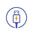 usb charging plug icon vector image vector image