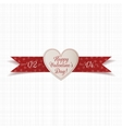 Valentines Day Heart Label with Text and Ribbon vector image vector image