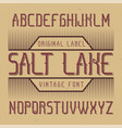 vintage label font named salt lake vector image vector image