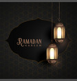 vintage ramadan kareem design with hanging vector image vector image