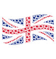 waving united kingdom flag pattern of bang icons vector image vector image