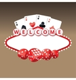 Welcome sign with four aces cards and playing vector image