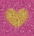 yellow gold glitter heart on purple pink texture vector image vector image