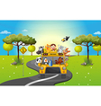 A zoo bus travelling loaded with animals vector image vector image