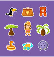 african animals plants girl in safari outfit vector image vector image
