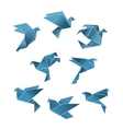 Blue paper pigeons and doves in origami style vector image vector image