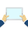 Businessman Hand holding tablet pc with blank vector image vector image
