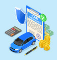 car insurance isometric concept vector image