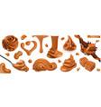 caramel peanut butter 3d realistic set vector image vector image