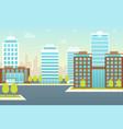 cartoon city landscape background card poster vector image vector image