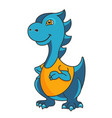 cartoon dragon or dinosaur mascot vector image vector image