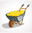 cartoon wheelbarrow with gold vector image vector image