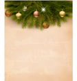 Christmas decoration on old paper background vector image