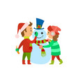 christmas holidays children building snowman vector image vector image