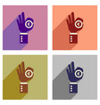 concept of flat icons with long shadow hand coin vector image vector image