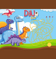 dino maze puzzle game template vector image